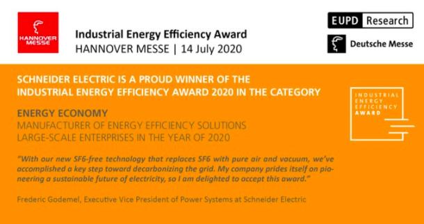 Schneider Electric gana el Industrial Energy Efficiency Award por su tecnología de aparamenta sin gas SF6