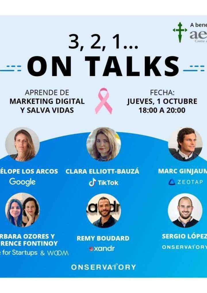 """""""3,2,1… ON TALKS"""", primera jornada gratuita de formación en Marketing Digital a beneficio de la AECC"""